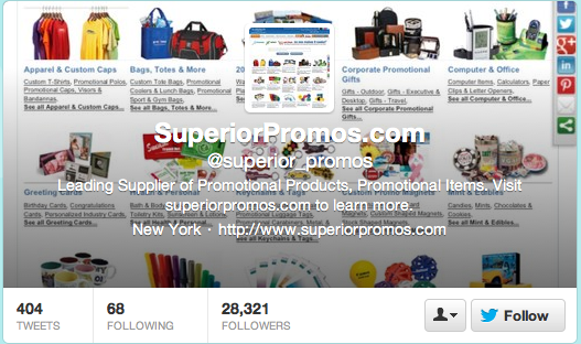 Follow Superior Promos on Twitter