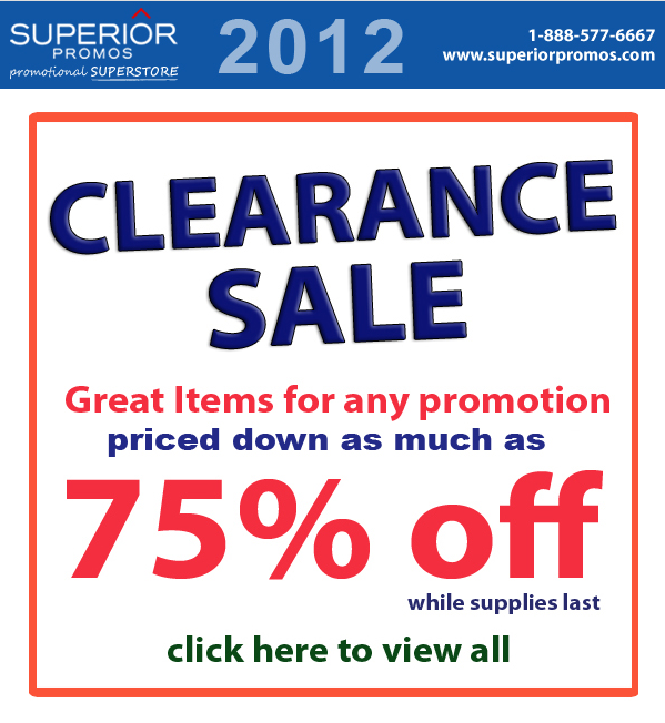 75% Off Promotional Products Clearance Sale!