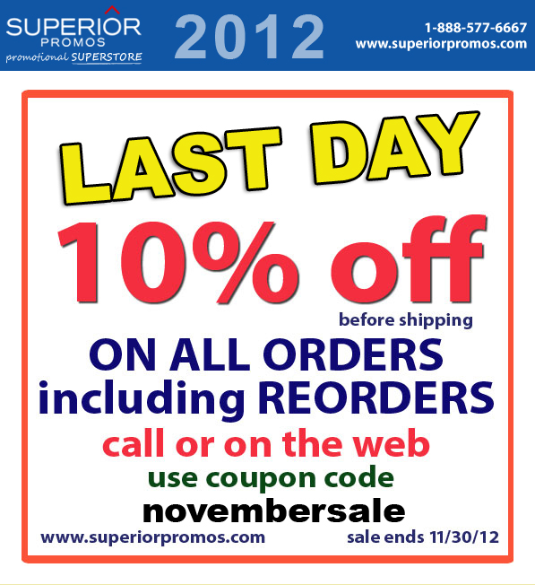 Save 10% On All Promotional Products During November