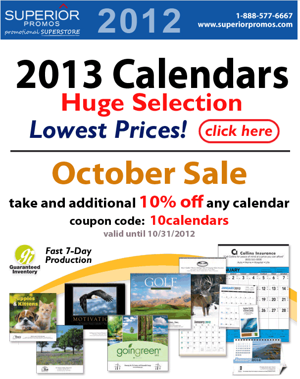 10% Off 2013 Promotional Calendars